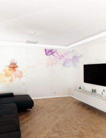 Wandmalerei mit Fischmotiv