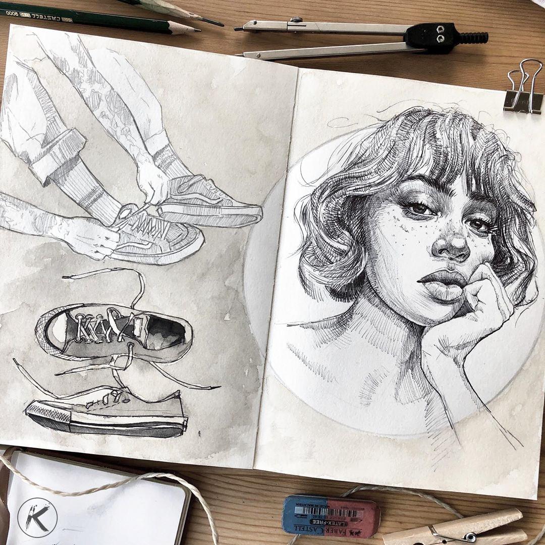Zeichnung im Skizzenbuch
