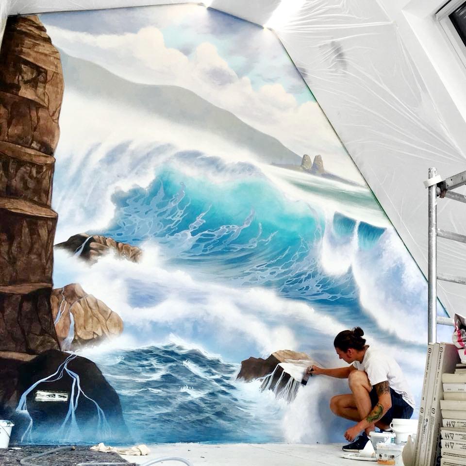 Ozean mit Welle als Wandgemälde