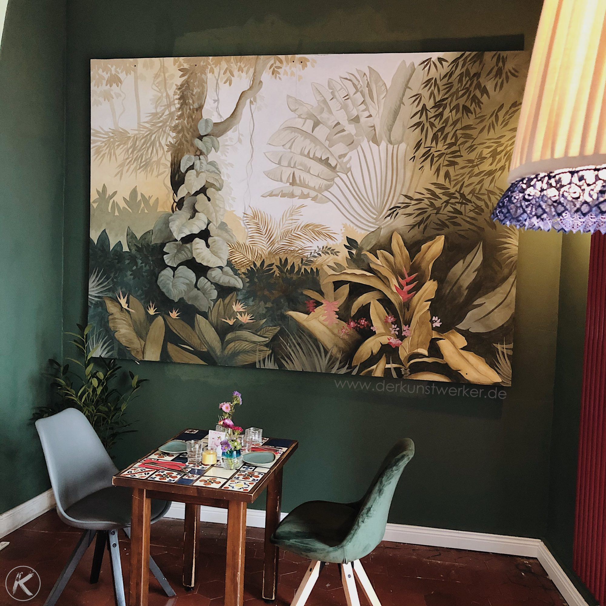 Greenery Malerei Dschungelmotiv